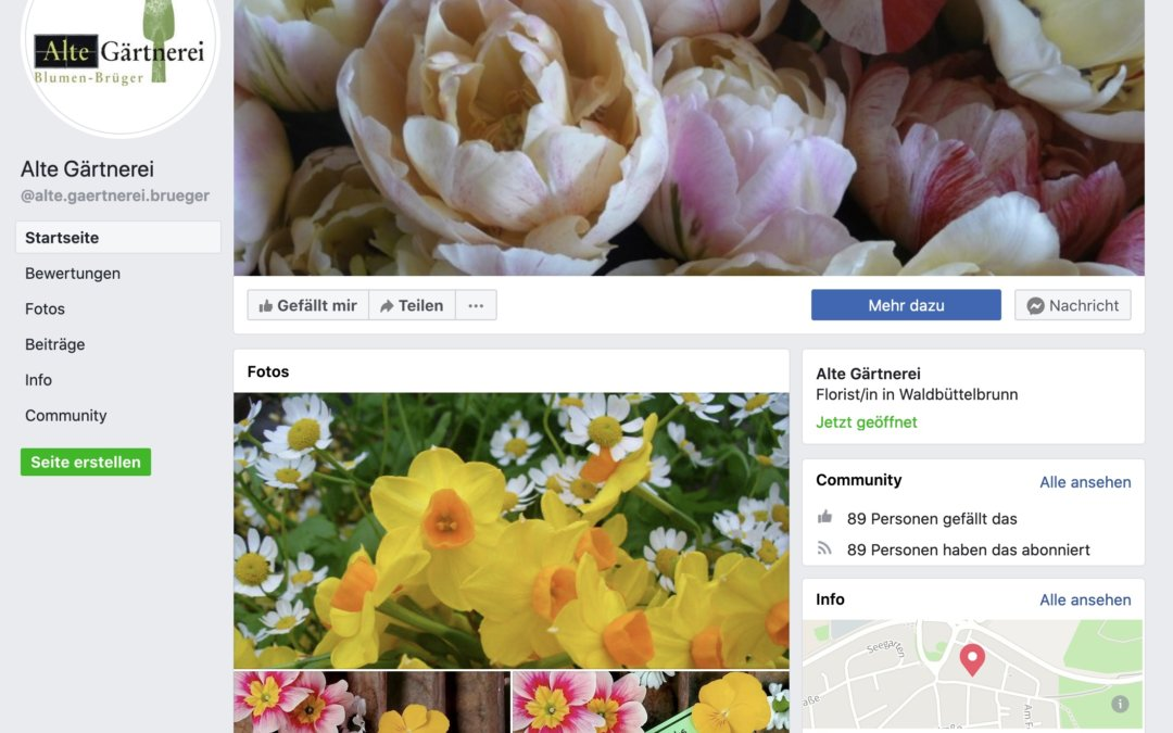 Neue facebook-Seite für Alte Gärtnerei in Waldbüttelbrunn