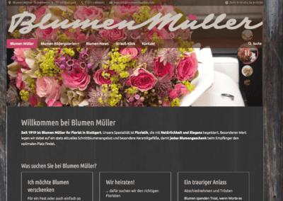 """Die Website """"Blumen Müller"""" ist eine Arbeit von floristweb.de"""