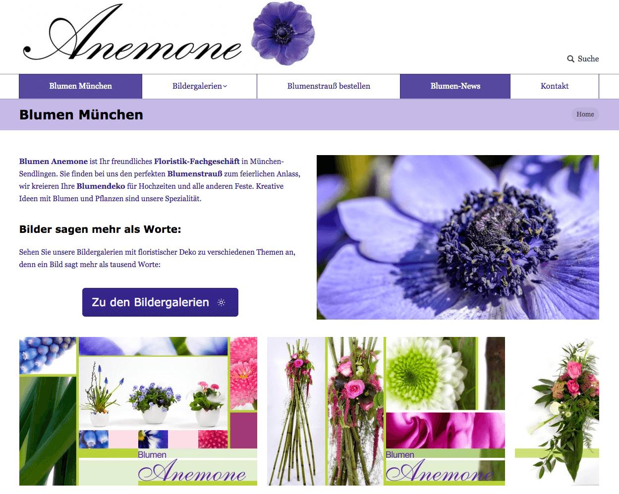 floristweb Referenzen Blumen Anemone München