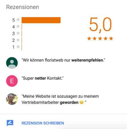 Google Bewertungen Floristweb