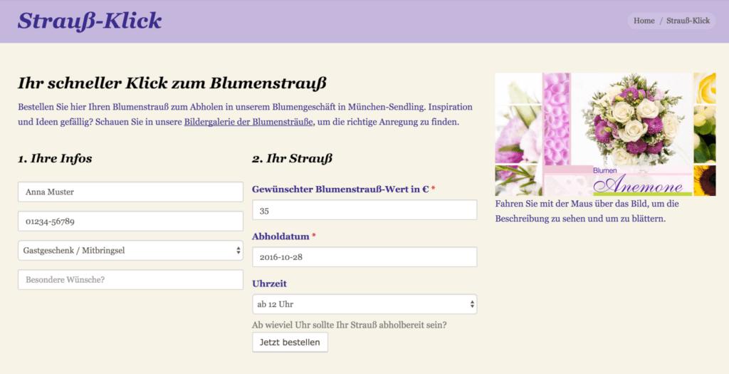 Mit dem Strauß-Klick bestellen Kunden ihre Sträuße online vor